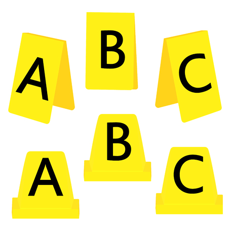 Raster illustration set of three yellow marker of crime scene with numbers A, B, C. Evidence marker.