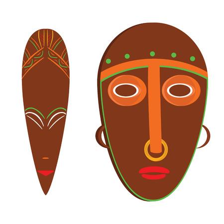 Raster illustration african mask. Tribal mask icon. Totem mask Stock Photo