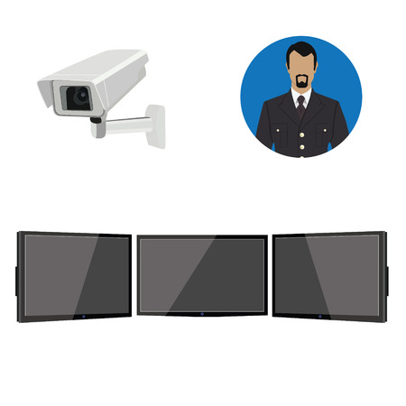 security monitor: Raster illustration security system operator, monitors and camera icon set. Security service Stock Photo