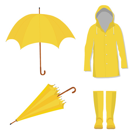 Raster illustration yellow raincoat, rubber boots, opened and closed umbrella. Fashion protection