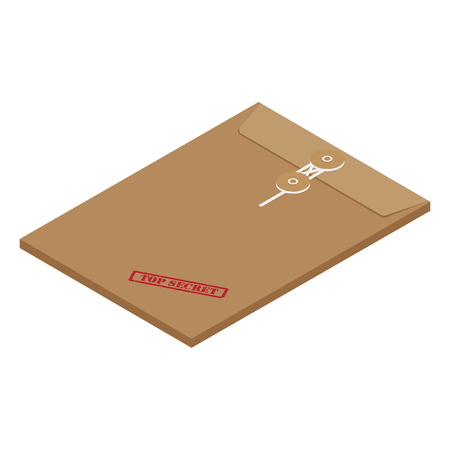 3s isometric perspective brown long postal envelope template with red rubber stamp top secret raster illustration. Envelope sealed with string. Banco de Imagens