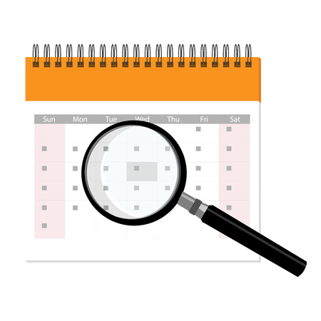 Raster illustration calendar and magnifying glass icon. Calendar with loupe isolated on white background. Search concept