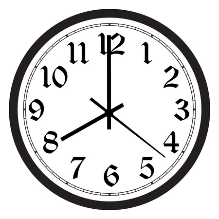 Raster simple classic black and white round wall clock isolated on white. Clock on wall shows eight oclock Banco de Imagens