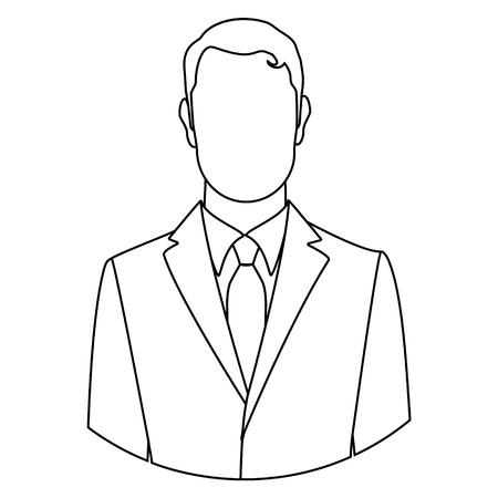raster illustration line businessman icon male outline drawing
