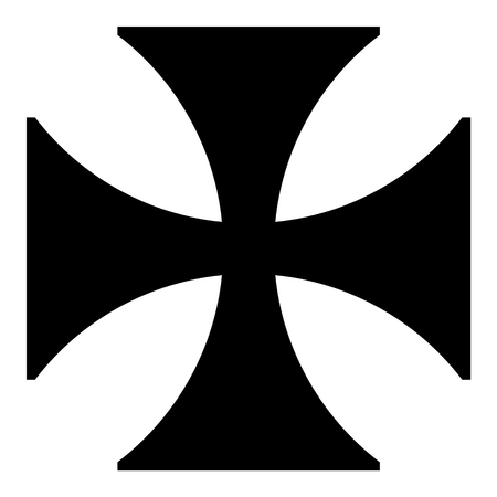 Raster Illustration Black Sign Maltese Cross Icon Isolated On