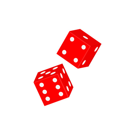 Raster illustration casino red dices icon isolated on white background.
