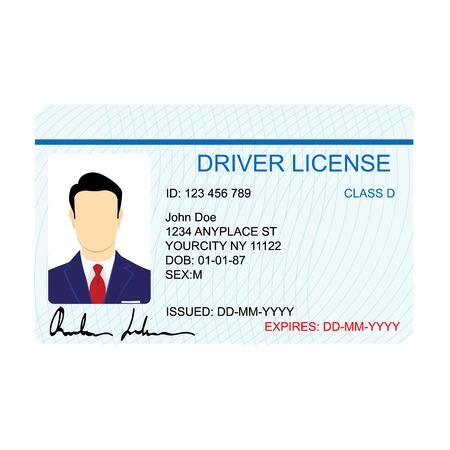 driver license: Raster illustration man driver license card template Stock Photo