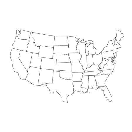 Raster Illustration USA Map. States And Territories Of United ...