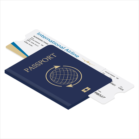 Isometric 3d passport and boarding pass raster illustration. Airplane ticket. Identification document