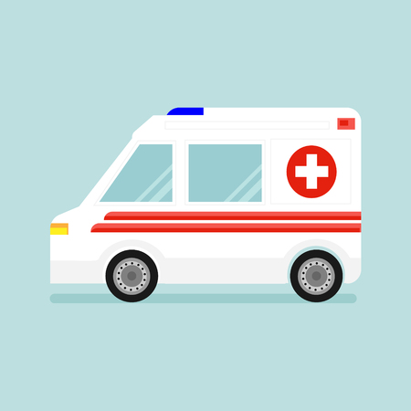 Raster illustration ambulance car isolated  on blue background. White car with red stripes, cross and siren. Emergency medical service vehicle. Hospital transport.