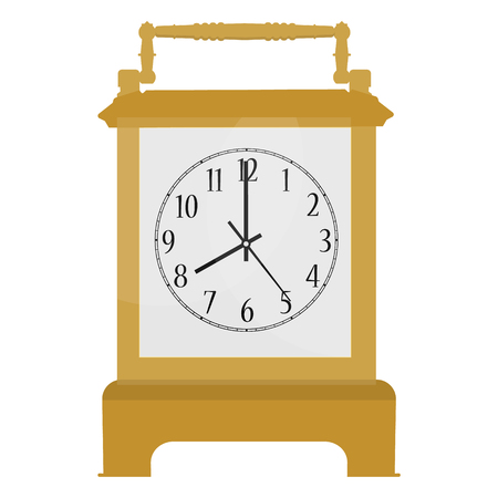 Raster illustration golden, retro carriage clock with Arabic numerals isolated on white background. Stock Photo