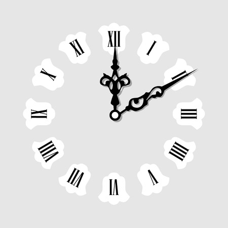 o'clock: Raster illustration elegant wall clock with vintage hour hand isolated on white background. Clock on wall shows eight oclock. Roman numeral clock