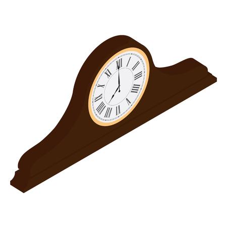 numeros romanos: Reloj viejo de madera marrón isométrico con la ilustración de la trama de los números romanos. Reloj de escritorio vintage Reloj de mesa