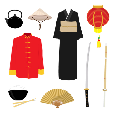 China set with lantern, folding fan, katana sword, kendo, teapot, conus hat and rise bowl with chopsticks. Chinese man, woman traditional costume, dress. Asian ethnic, national clothes.