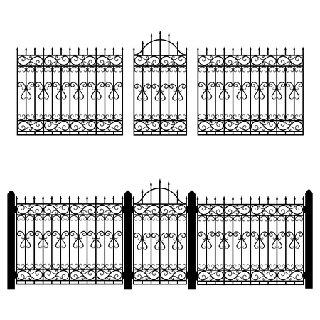 Vector illustration wrought iron modular railing and fence. Vintage gate with swirls. Black forged fence Illustration