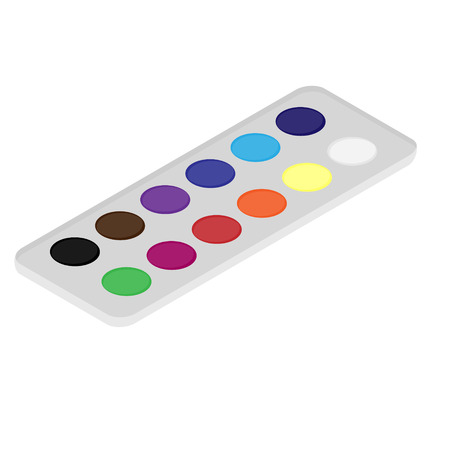 Isometric vector illustration watercolor paints for painting.