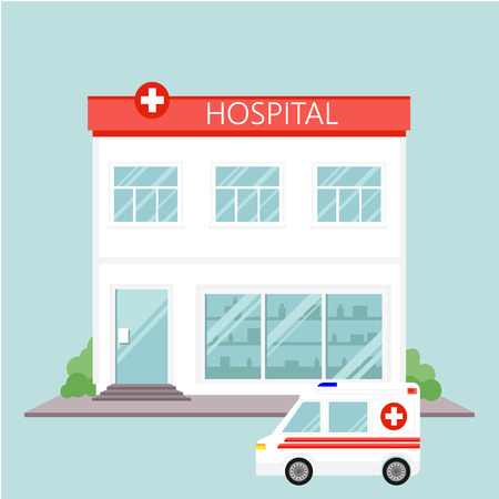 Vector illustration city hospital building and ambulance car in flat design. Hospital and healthcare icon. Ilustrace