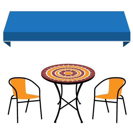 Bleu boutique fenêtre fenêtre vintage table extérieure et deux chaises noires et une chaise à vide . icône de restaurant . meubles de restaurant Banque d'images - 82897619