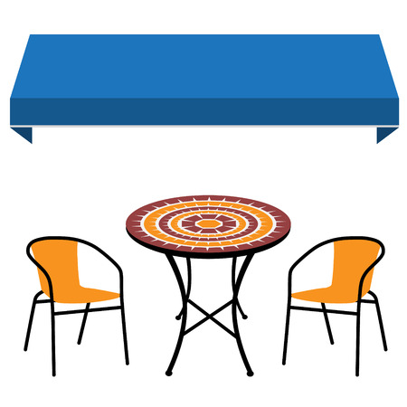 Blue shop window awning vintage outdoor table and two chairs. Round table and chair vector icon. Restaurant furniture
