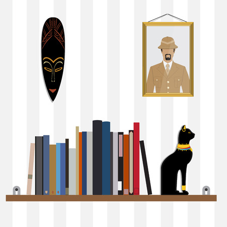 bibliography: Vector illustration bookshelf with bibliography, encyclopedia, handbooks and cat figurine. Photo of traveler and African mask on the wall.