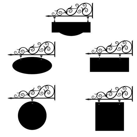 Ensemble d'illustration vectorielle, collection de vintage hôtel vintage, signe ancien. Signage Boutique signe itinéraire suspendu détaillant de bannière d'information. Signe de porte d'hôtel
