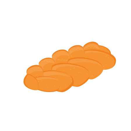 Vector illustration homemade bread pigtail. Bread in the form of braids