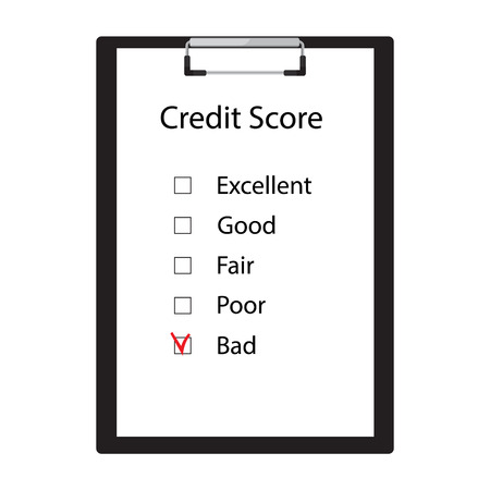 Raster illustration bad credit score. Credit score rate good, fair, poor, bad and excellent Stock Photo