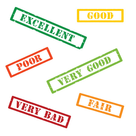 Raster illustration set, collection of rubber stamp with text excellent, very good,  good, fair, poor, very bad isolated on white. Stok Fotoğraf