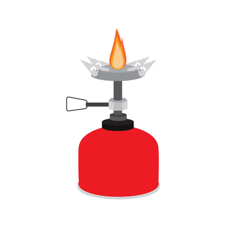 Raster illustration camping stove flat icon. Portable gas burner. Hiking, camping equipment Stock Photo