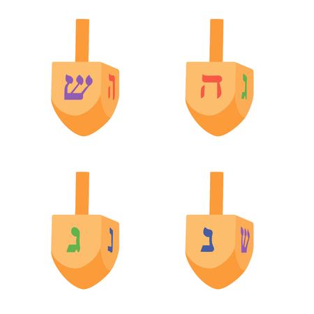 Raster illustration set, collection of Hanukkah dreidels, and its letters of the Hebrew alphabet. Chanukah dreidel icon. Jewish, hebrew toy