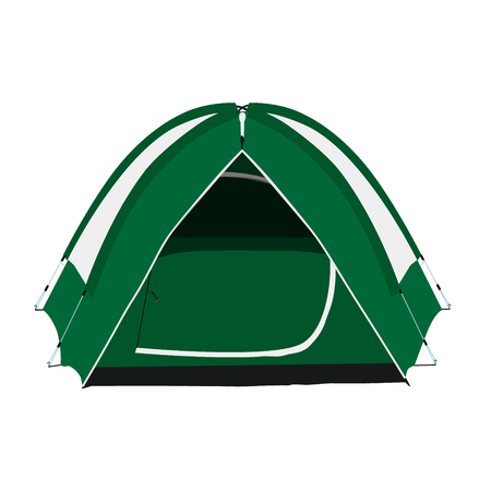 Raster illustration green camping tent isolated on white background