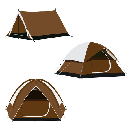 Raster icon set of three brown camping tents raster illustration. Camping equipment, gear
