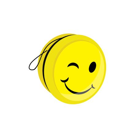 Raster illustration yellow yoyo toy with smile. Yo yo symbol, icon flat