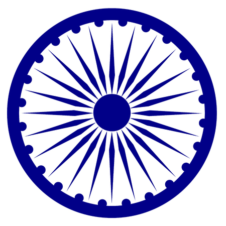 Raster illustration blue Ashoka Wheel Indian symbol - Ashoka Chakra. Stock Photo