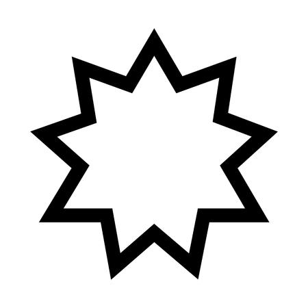 Raster illustration religious nine pointed star. Symbol of Bahai Faith. Bahaism flat icon