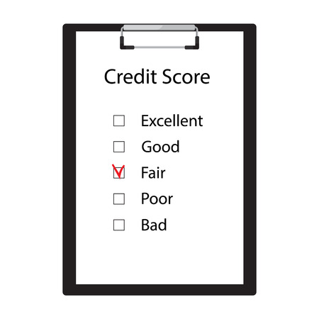 Raster illustration fair credit score. Credit score rate good, fair, poor, bad and excellent Stock Photo