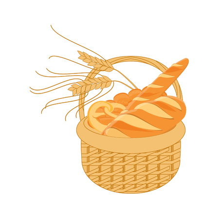 homemade bread: Raster illustration  wicker basket with full with bakery. Bread and buns Stock Photo