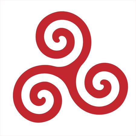 Raster illustration triskel symbol. Triskelion shield. Ancient symbol. Triskele