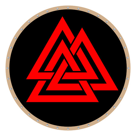 Valknut symbol of the world end of the tree Yggdrasil. Sign of the god Odin. It refers to the Norse culture. Triangle. Viking Age symbol. Stock Photo