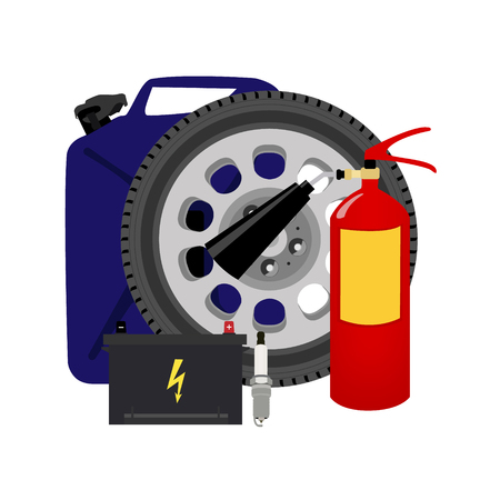 raster illustration car wheel, oil canister, fire extinguisher and accumulator. Car service. Car details icon set