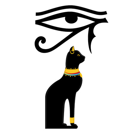 Raster illustration Horus eye and Bastet Egypt cat on isolated on white background. Egypt sun eye. Black sitting Egyptian cat. Stock Photo