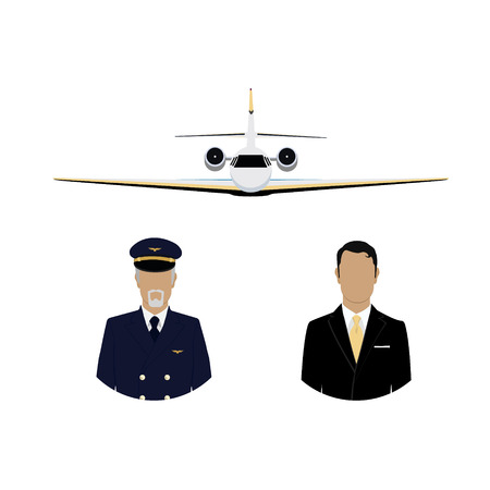 World travel and tourism concept. Professional pilot, captain avatar and airplane flying in the sky. Businessman passanger flying charter flight Stock Photo