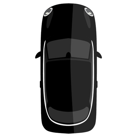 Raster illustration black small car isolated on white background. Mini car top view Stock Photo