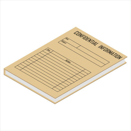 Raster illustration 3d isometric perspective brown file folder with confidential information