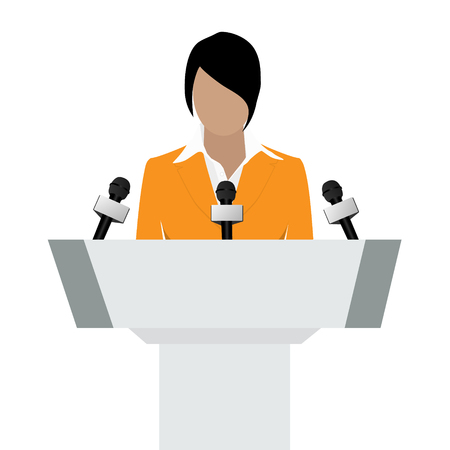 Raster illustration woman orator speaking from tribune. Business woman in orange suit. Speaker person. Conference speaker. Podium speech. Speaker podium