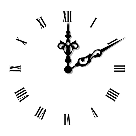 Vector illustration elegant wall clock with vintage hour hand isolated on white background. Clock on wall shows eight oclock. Roman numeral clock Ilustração