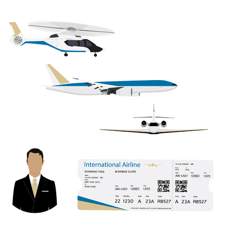 World travel and tourism concept. Airline boarding pass ticket with QR2 code design template and airplane, jet,helicopter flying in the sky. Businessman passanger flying charter flights.