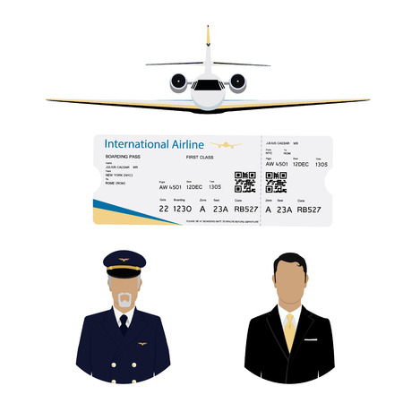 World travel and tourism concept. Airline boarding pass ticket with QR2 code design template, professional pilot, captain avatar and airplane flying in the sky. Businessman passanger flying charter flight