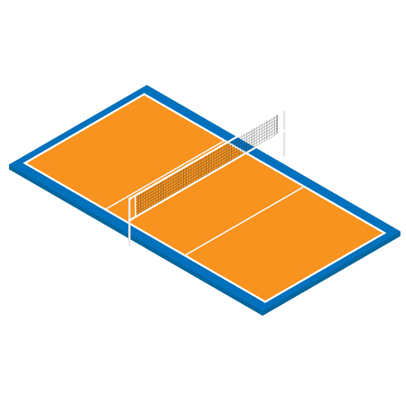 Vector illustration 3d isometric perspective professional volleyball court isolated on white background.