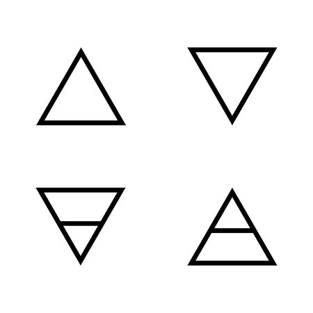 Vector illustration quatre éléments icônes, symboles de ligne. Symbole de l'air, le feu, l'eau et la terre. Icônes de l'alchimie. Quatre éléments de base. Banque d'images - 83107174